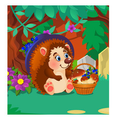 hedgehog with a ripe wild berries and mushrooms vector image
