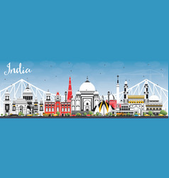 India city skyline with color buildings and blue vector