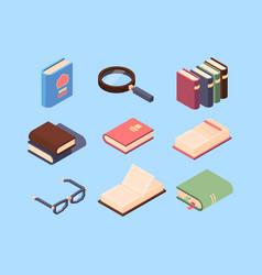 isometric books knowledge education symbols vector image