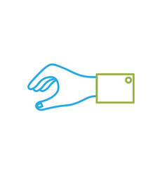 Line man hand to business negotiation icon vector