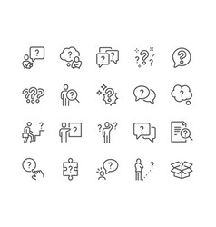 Line question icons vector