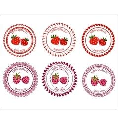 Logo strawberries and raspberries vector image