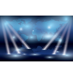 map of the world on the wall and lights vector image vector image