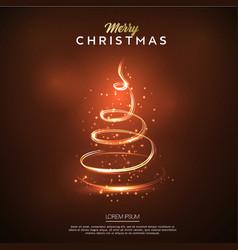 merry christmas card glow christmas tree design vector image