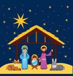 Merry christmas manger celebration festive vector