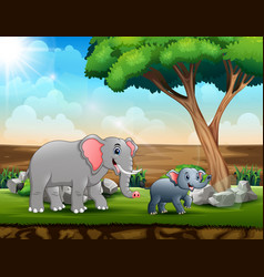 mom and young elephants in savanna vector image