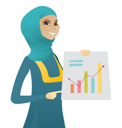 muslim business woman showing financial chart vector image