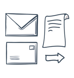 office paper with message in envelope set vector image