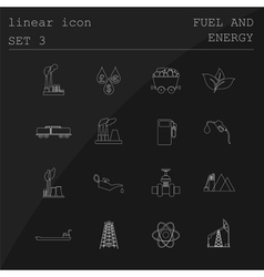 Outline icon set Fuel and energyl Flat linear vector