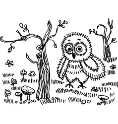 Owl trees grass mushrooms Black contour on a white vector image