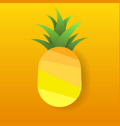 paper pineapple on yellow background tropical vector image