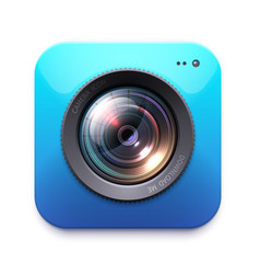 photo or video camera icon isolated emblem vector image