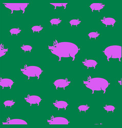 Pink pig seamless pattern vector
