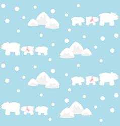 Polar bears family and mountain vector