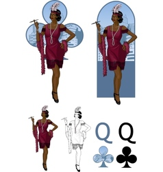 Queen of clubs afroamerican starlet Mafia card set vector
