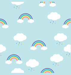 rainbow with rain drops seamless pattern vector image