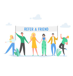 Refer a friend concept with banner people vector