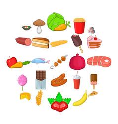 Refreshment icons set cartoon style vector
