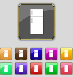 Refrigerator icon sign Set with eleven colored vector