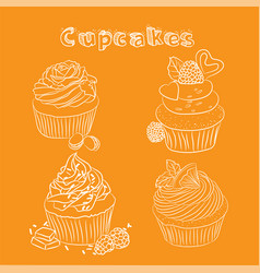 Scetch cupcake orange background vector