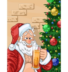 Selfie of Santa Claus with beer vector image
