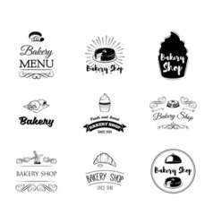 set bakery labels and badges cake cupcake vector image