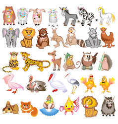 set cartoon animals with cow sheep goat lion vector image
