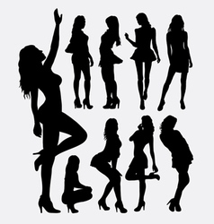 Sexy girl pose silhouettes vector