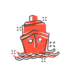 ship cruise sign icon in comic style cargo boat vector image