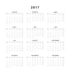 Simple modern calendar 2017 in German vector