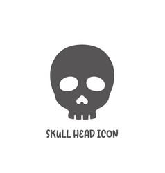 Skull head icon simple flat style vector