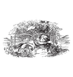 Sleeping child vintage vector