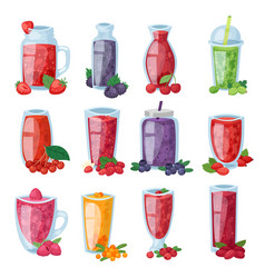 Smoothie healthy berry drink in glass or vector