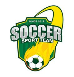 soccer fire ball team logo design vector image