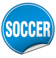 Soccer round blue sticker isolated on white vector
