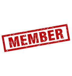 Square grunge red member stamp vector