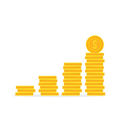 stack golden coin like income graph vector image