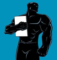 Superhero holding book no cape silhouette vector
