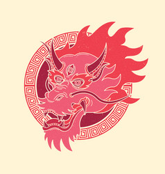 traditional dragon vintage tattoo vector image