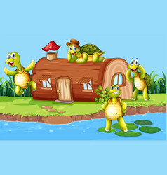 Turtle at the wooden house vector