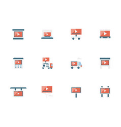 video marketing strategy flat icons set vector image