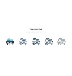 Villa savoye icon in different style two colored vector