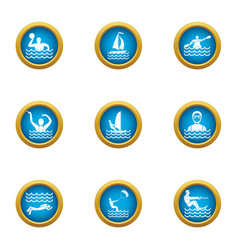 Water polo icons set flat style vector