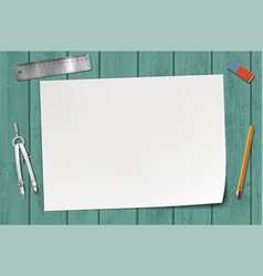 white blank sheet of paper on a wooden table vector image