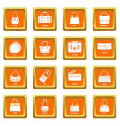 Woman bag types icons set orange square vector