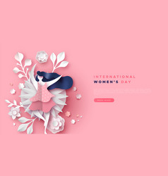 womens day pink papercut floral girl web template vector image