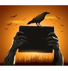 Zombie hands holding sign with blank card vector