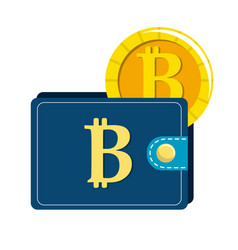 bitcoin symbon in the wallet with coin money vector image