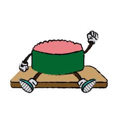 cartoon funny sushi food character japanese vector image