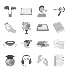 Interpreter and translator set icons in monochrome vector image